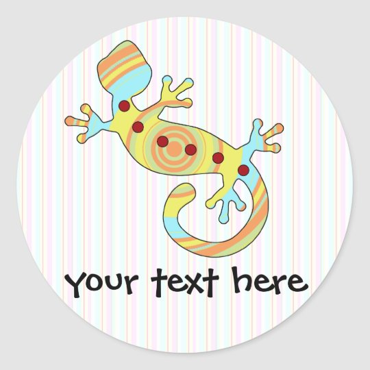 Colourful Fun Gecko Lizard Classic Round Sticker