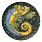 Colourful Fun Lizard Branch Dots Plate