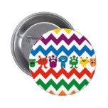 Colourful Fun Monsters Cute Chevron Striped Badges