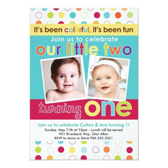 Colourful Fun Twins First Birthday Invitation