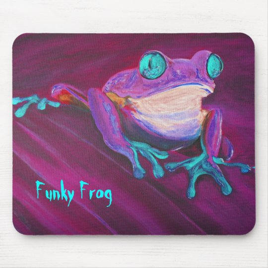 Colourful funky frog mouse pad