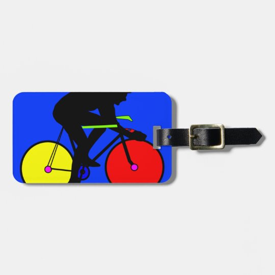 Colourful funky multi coloured bike luggage tag