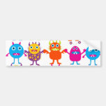 Colourful Funny Monster Party Creatures Bash Bumper Sticker