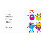 Colourful Funny Monster Party Creatures Bash Pack Of Standard Business Cards