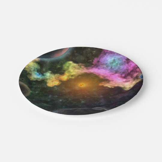 Colourful Galaxy Explosion 7 Inch Paper Plate