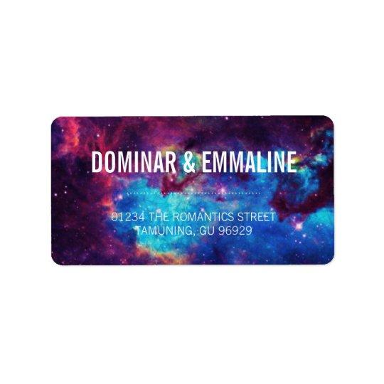 Colourful Galaxy Wedding Address Labels