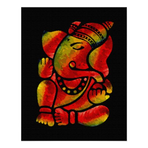 Colourful Ganesha Canvas Oil Painting Poster
