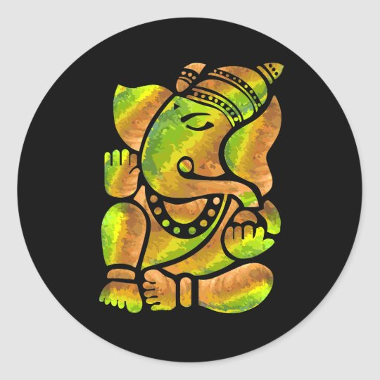 Colourful Ganesha Painting Classic Round Sticker