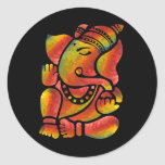 Colourful Ganesha Painting Round Sticker