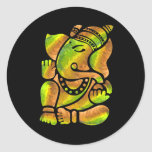 Colourful Ganesha Painting Round Stickers