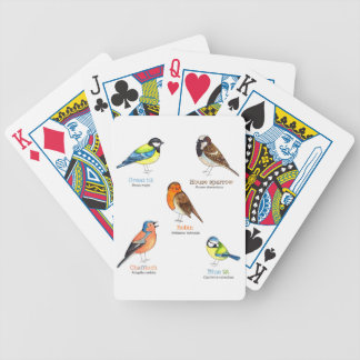 Colourful garden birds bicycle playing cards