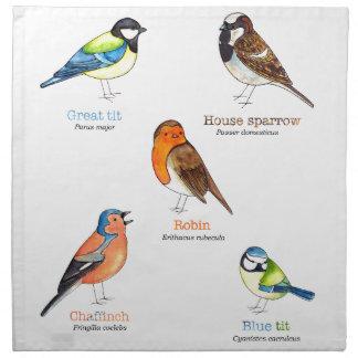 Colourful garden birds napkin
