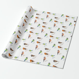 Colourful garden birds wrapping paper