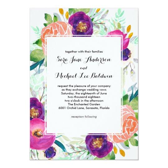 Colourful Garden Watercolor Floral Wedding Card
