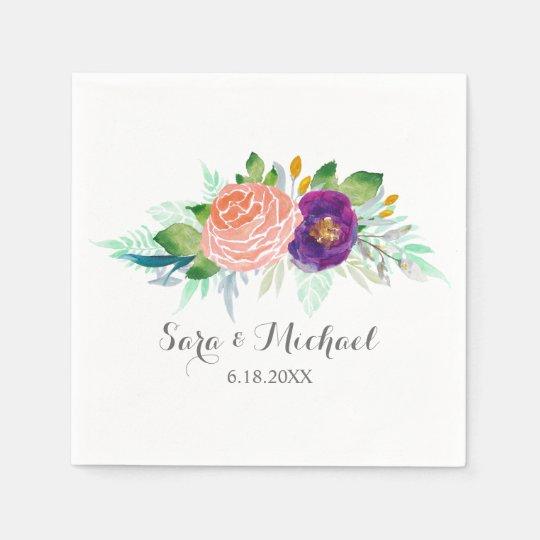 Colourful Garden Watercolor Floral Wedding Disposable Napkins