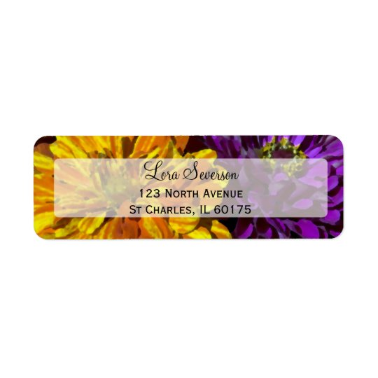 Colourful Garden Zinnia Flowers Return Address