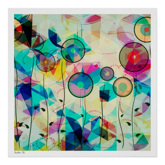 Colourful Geometric Abstract Digital Art Poster