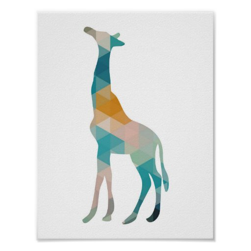 Colourful Geometric Giraffe Silhouette Poster