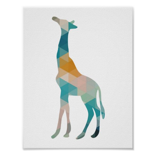 Colourful Geometric Giraffe Silhouette Poster