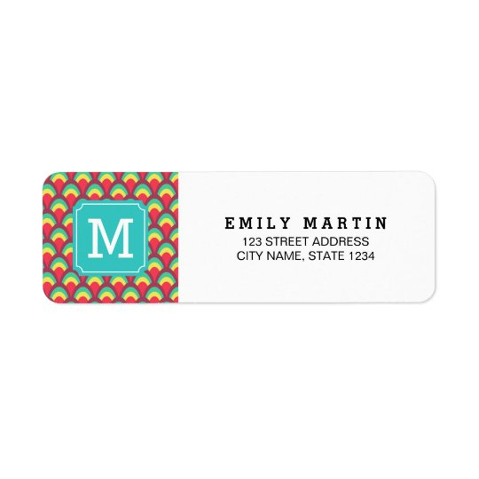Colourful Geometric Monogram Address Label