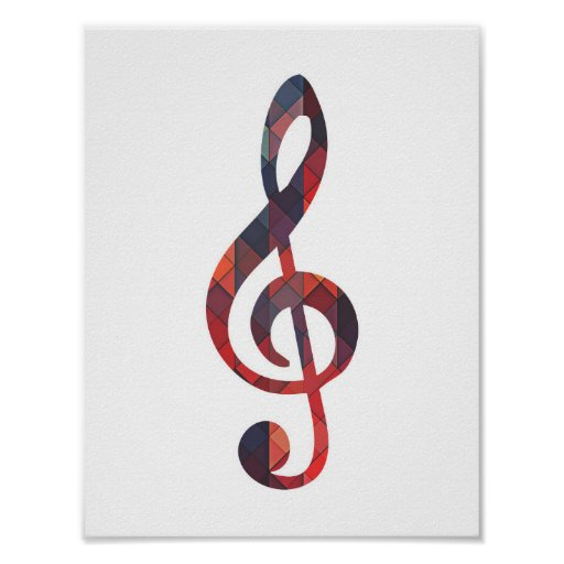 Colourful Geometric Music Note Poster