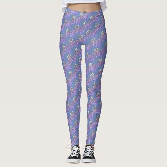 Colourful Geometric Pattern on Blue - Leggings