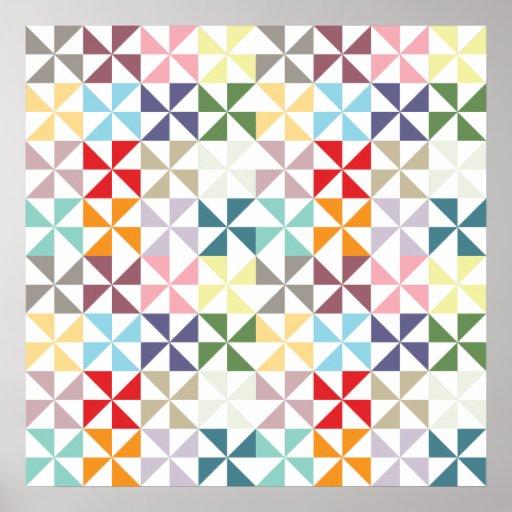 Colourful Geometric Pinwheel Poster