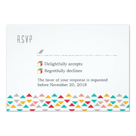 Colourful Geometric Triangle Hearts RSVP Card