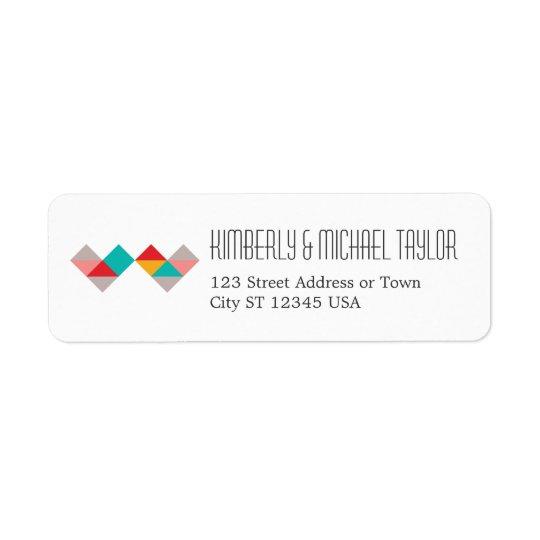 Colourful Geometric Triangle Hearts Wedding Return Address Label