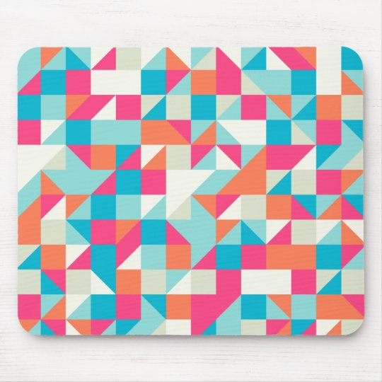 Colourful Geometric Triangle Pattern Mouse Mat