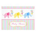 Colourful Gingham Elephants Baby Shower Invitation