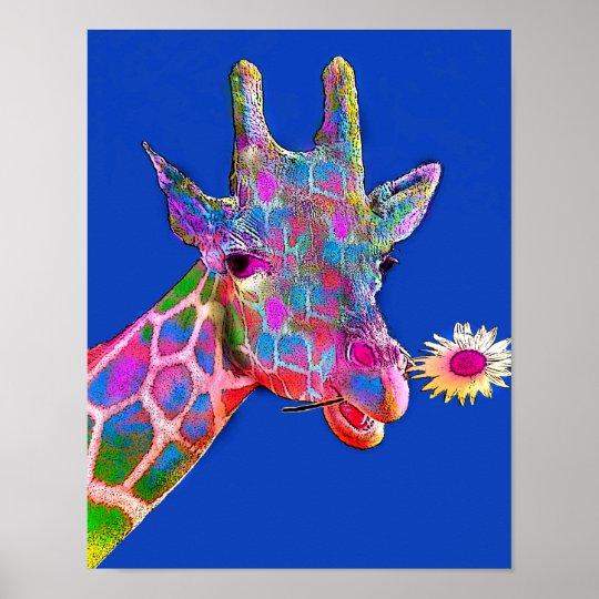 Colourful Giraffe Sunflower Poster