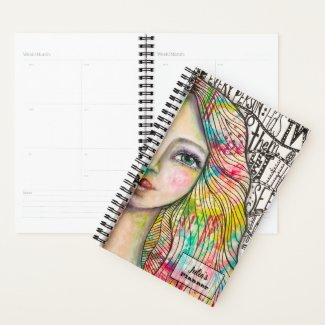 Colourful Girl Artsy Jester Black White Whimsical Planner