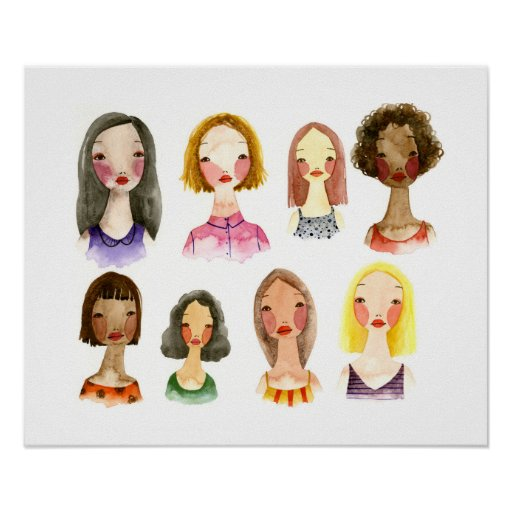 Colourful Girls Art Poster