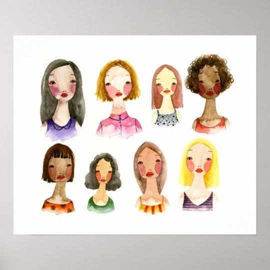Colourful Girls Art Poster