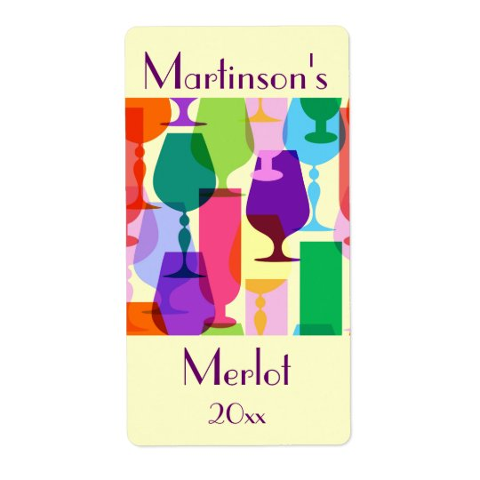 Colourful Glasses Wine Label