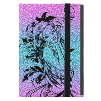 Colourful Glitter Floral Girl Illustration Cover For iPad Mini
