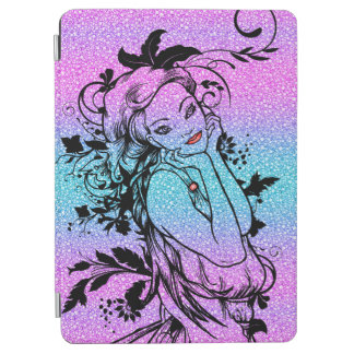 Colourful Glitter Floral Girl Illustration iPad Air Cover