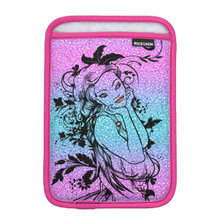 Colourful Glitter Floral Girl Illustration iPad Mini Sleeve