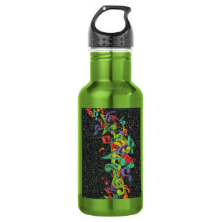 colourful glitter music notes and black effects 532 ml water bottle