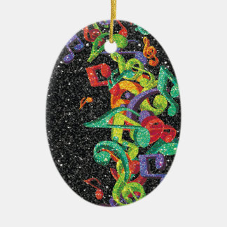 colourful glitter music notes and black effects Double-Sided oval ceramic christmas ornament