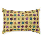 Colourful Glitter Polka Dots Gold Pet Bed
