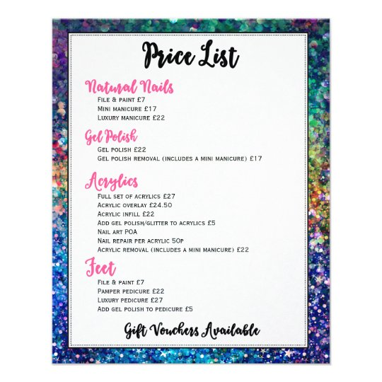 Colourful Glitter Price List Nails Services Flyer