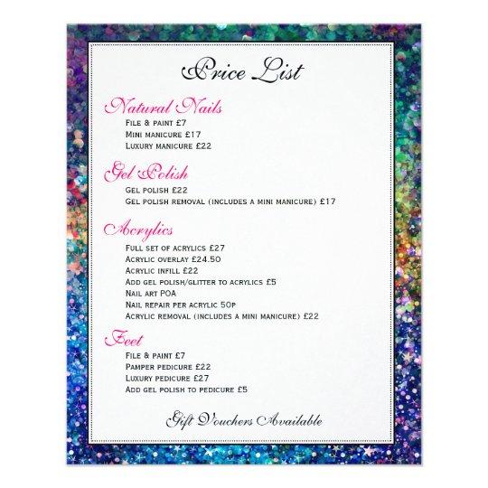 Colourful Glitter Texture Price List 11.5 Cm X