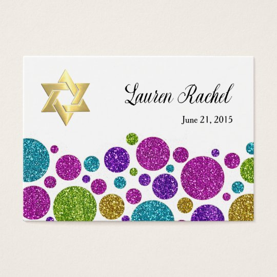 Colourful Glittery Dots on Any Colour Favour Tag