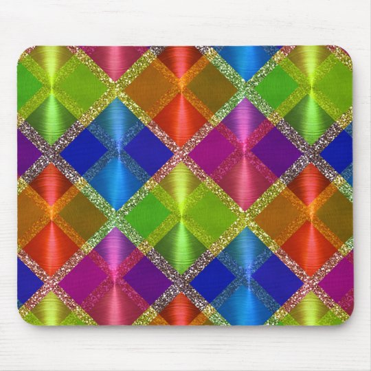 Colourful Glittery Plaid Pattern Mouse Pad