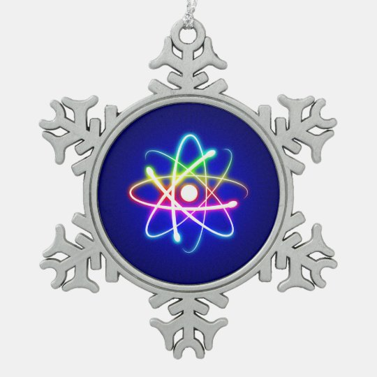 Colourful Glow Atom Nerd Snowflake Pewter Christmas Ornament