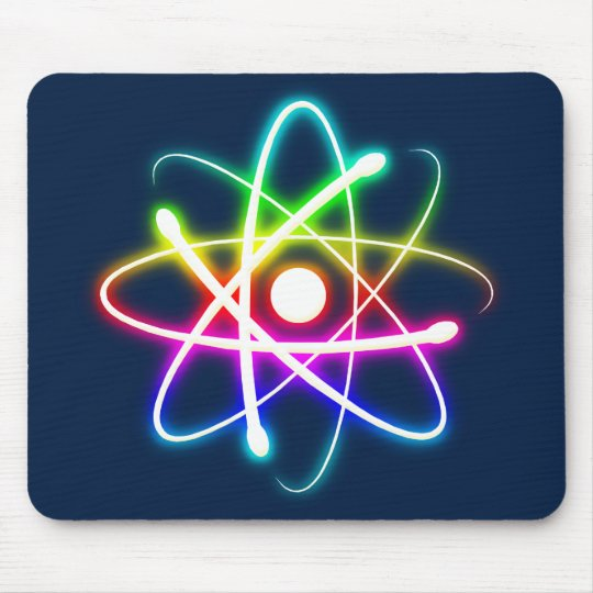 Colourful Glowing Atom - dark blue mousepad