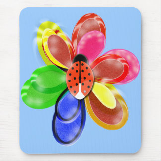 colourful glowing  flower with cute ladybug pad mouse mat