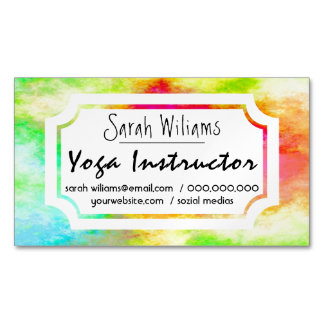 Colourful glowing watercolor Yoga Instructor Magnetic Business Cards